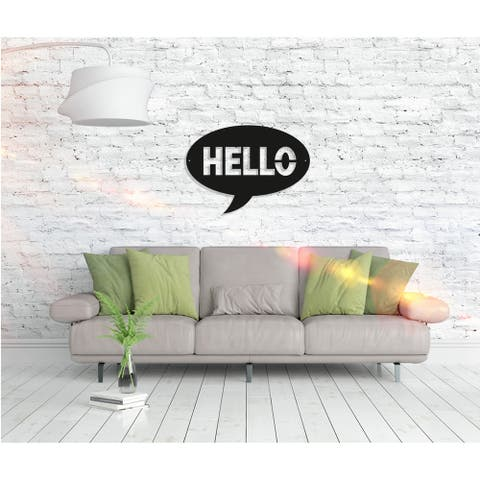 Hello - Metal Word Wall Art Home Décor Decorative Hanging Sign Ornament for Bedroom, Living Room, Dining Room Walls Black