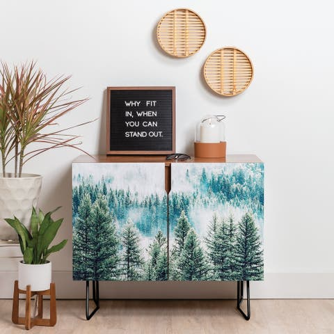Deny Designs Forest Fog Credenza (Birch or Walnut, 2 Leg Options)