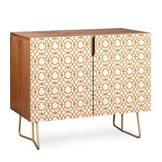 Deny Designs  Burnt Orange Umbria Credenza (Birch or Walnut, 2 Leg Options) (Gold Legs - Walnut Finish - Veneer/Wood)