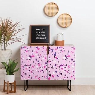Deny Designs Pink Terrazzo Style Credenza (Birch or Walnut, 2 Leg Options)