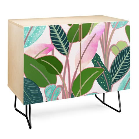Deny Designs Colorful Leaves Credenza (Birch or Walnut, 2 Leg Options)