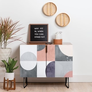 Deny Designs Geometric Moontime Credenza (Birch or Walnut, 2 Leg Options)