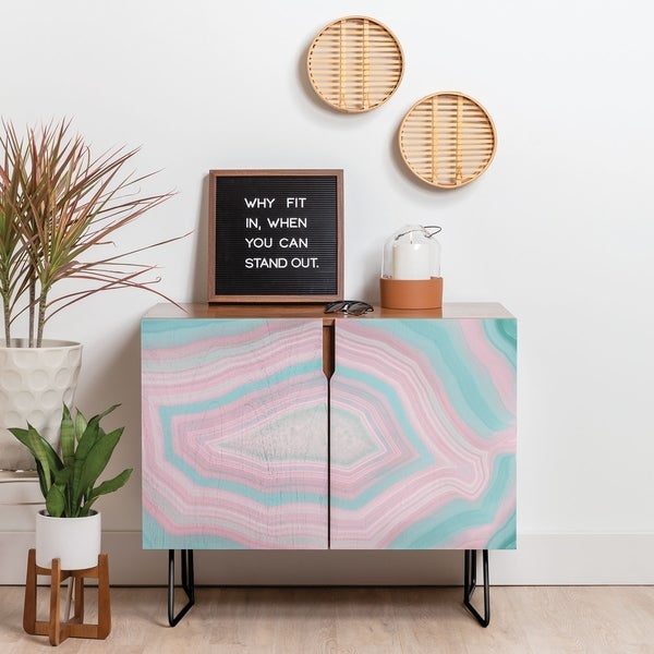 Deny Designs Pink and Teal Agate Credenza (Birch or Walnut, 2 Leg Options)