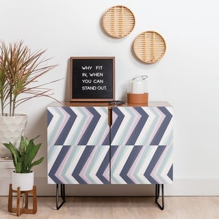 Deny Designs Beach Stripes Credenza (Birch or Walnut, 2 Leg Options)