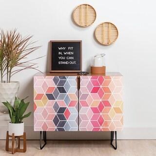 Deny Designs Happy Cubes Credenza (Birch or Walnut, 2 Leg Options)