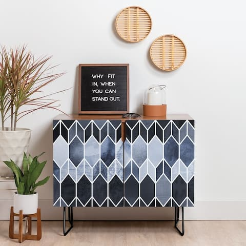 Deny Designs Blue Stained Glass Credenza (Birch or Walnut, 2 Leg Options)