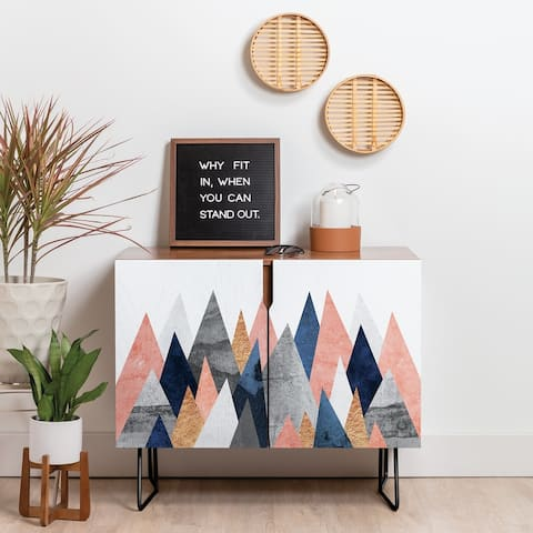 Deny Designs Pink And Navy Peaks Credenza (Birch or Walnut, 2 Leg Options)