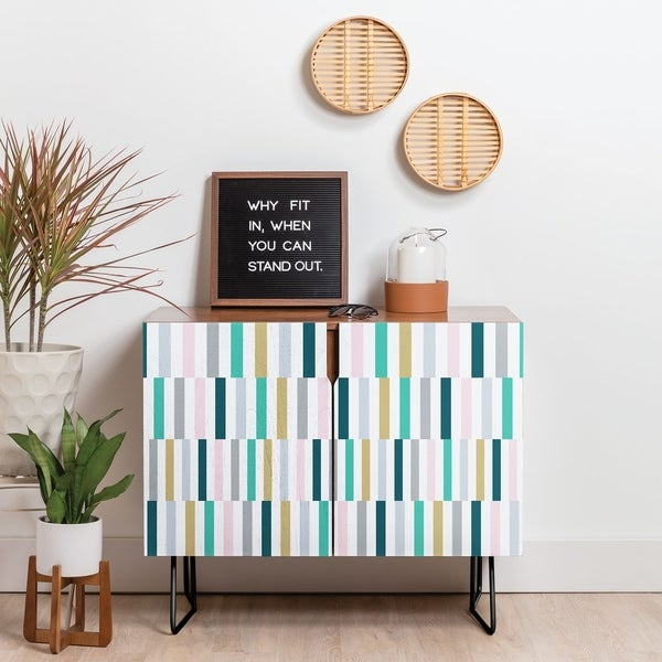 Deny Designs Scandi Stripes Credenza (Birch or Walnut, 2 Leg Options)