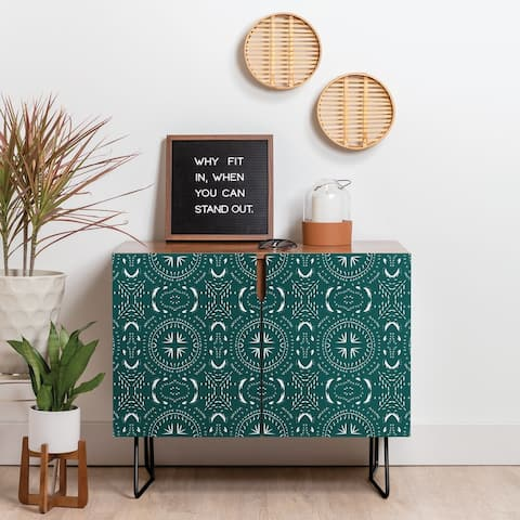 Deny Designs Mandala Tile Marine Credenza (Birch or Walnut, 2 Leg Options)