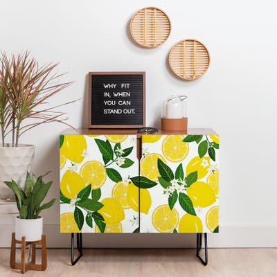 Deny Designs Summer Lemon Punch Credenza (Birch or Walnut, 2 Leg Options)
