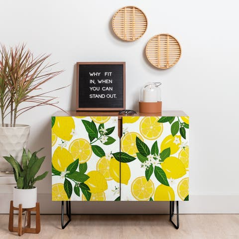 Deny Designs Summer Lemon Punch Credenza (Birch or Walnut, 2 Leg Options)