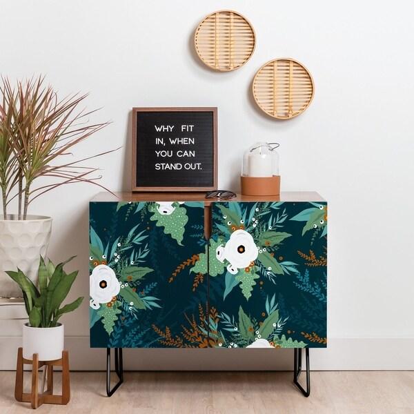 Deny Designs Green Garden Credenza (Birch or Walnut, 2 Leg Options)