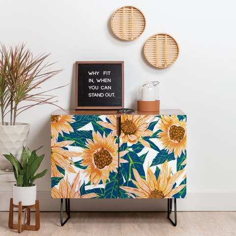 Deny Designs Blush Sunflowers Credenza (Birch or Walnut, 2 Leg Options)