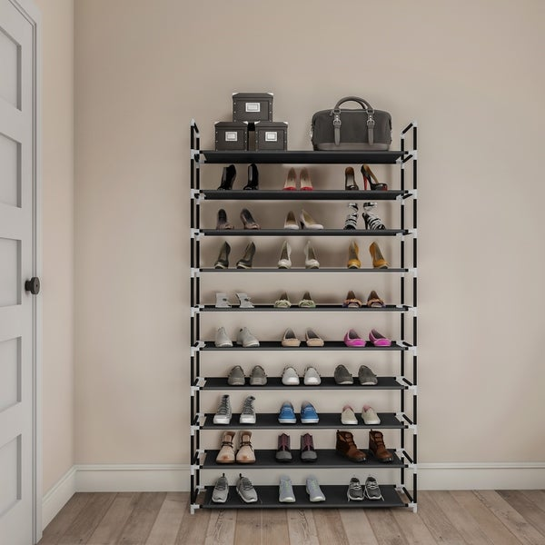 Shoe Rack- Tiered Storage for Sneakers, Heels, Flats, Accessories, and More-Space Saving Organization by Lavish Home. Opens flyout.