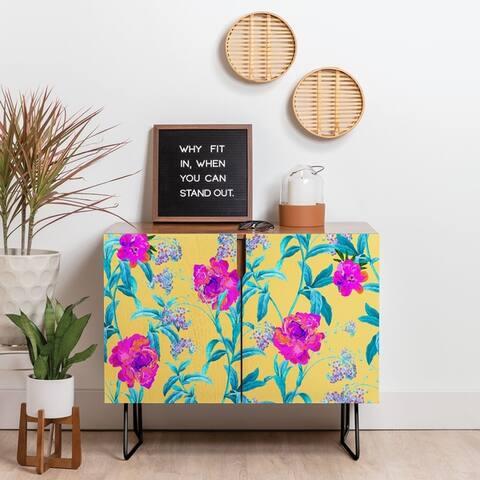 Deny Designs In Blossom Credenza (Birch or Walnut, 2 Leg Options)