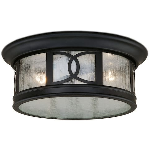 Magnolia Bronze Outdoor Flush Mount Ceiling Light with Edison Bulbs - 12-in W x 5-in H x 12-in D
