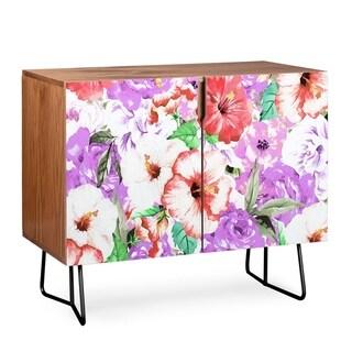 Deny Designs  Purple Floral Credenza (Birch or Walnut, 2 Leg Options) (Black Legs - Walnut Finish - Veneer/Wood)