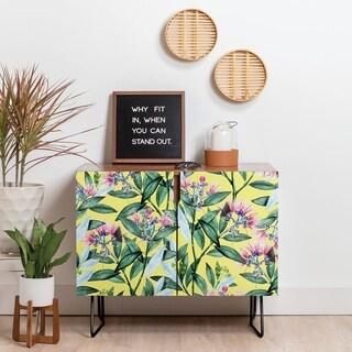 Deny Designs Floral Beauty Credenza (Birch or Walnut, 2 Leg Options)