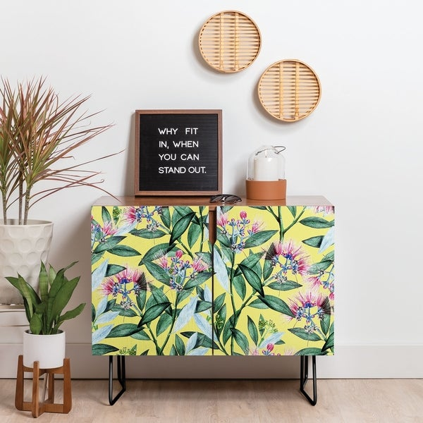 Deny Designs Floral Beauty Credenza (Birch or Walnut, 2 Leg Options)
