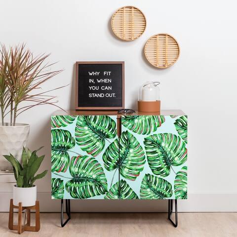 Deny Designs Tropical Greenery Credenza (Birch or Walnut, 2 Leg Options)