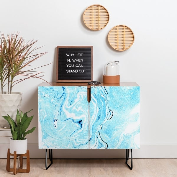 Deny Designs Ocean Marble Credenza (Birch or Walnut, 2 Leg Options)