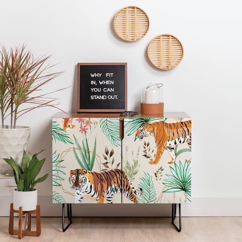 Deny Designs Tropical Tigers Credenza (Birch or Walnut, 2 Leg Options)