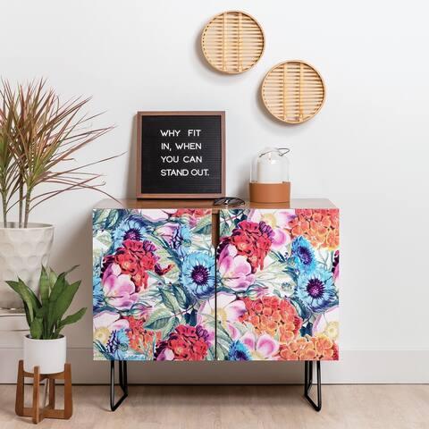 Deny Designs Neon Bloom Credenza (Birch or Walnut, 2 Leg Options)