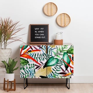 Deny Designs Paradise Floral Credenza (Birch or Walnut, 2 Leg Options)