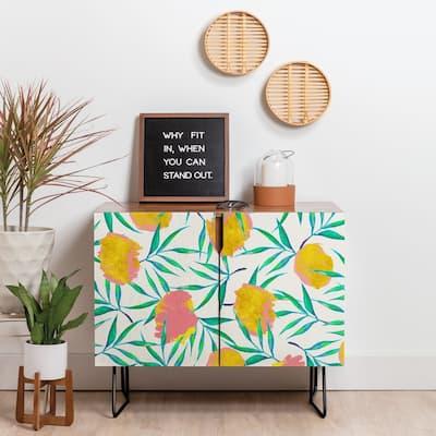 Deny Designs Floral Blush Yellow Credenza (Birch or Walnut, 2 Leg Options)