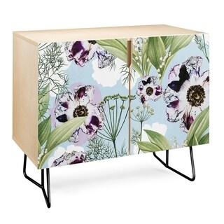 Deny Designs  Purple Floral Credenza (Birch or Walnut, 2 Leg Options) (Black Legs - Wood Finish - Wood/Birch)