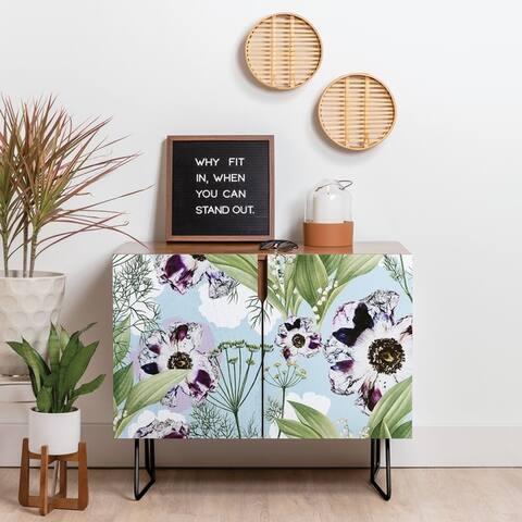 Deny Designs Purple Floral Credenza (Birch or Walnut, 2 Leg Options)