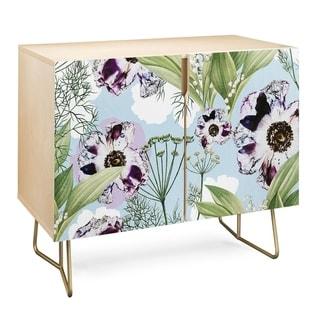 Deny Designs  Purple Floral Credenza (Birch or Walnut, 2 Leg Options) (Gold Legs - Wood Finish - Wood/Birch)