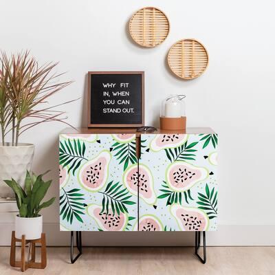 Deny Designs Juicy Guava Credenza (Birch or Walnut, 2 Leg Options)