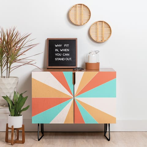 Deny Designs Papaya Burst Credenza (Birch or Walnut, 2 Leg Options)