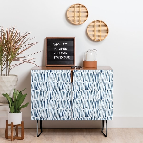Deny Designs Strokes and Waves Credenza (Birch or Walnut, 2 Leg Options)