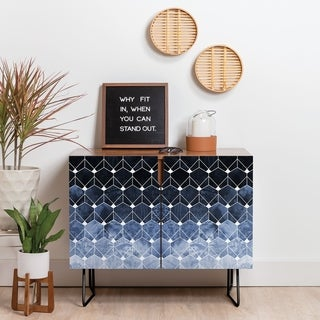 Deny Designs Blue Hexagons And Diamonds Credenza (Birch or Walnut, 2 Leg Options)