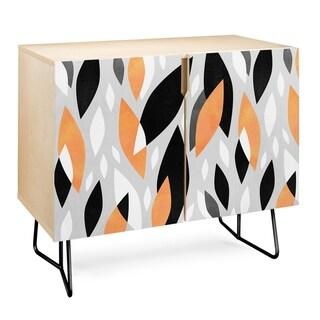 Deny Designs  Falling Orange Leaves Credenza (Birch or Walnut, 2 Leg Options) (Black Legs - Wood Finish - Birch/Wood)