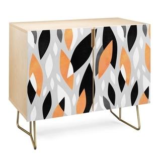 Deny Designs  Falling Orange Leaves Credenza (Birch or Walnut, 2 Leg Options) (Gold Legs - Wood Finish - Birch/Wood)