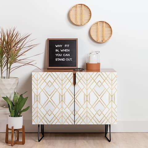 Deny Designs Line Geo Credenza (Birch or Walnut, 2 Leg Options)