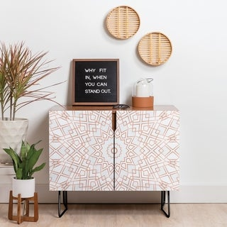 Deny Designs Rose Mandala Credenza (Birch or Walnut, 2 Leg Options)