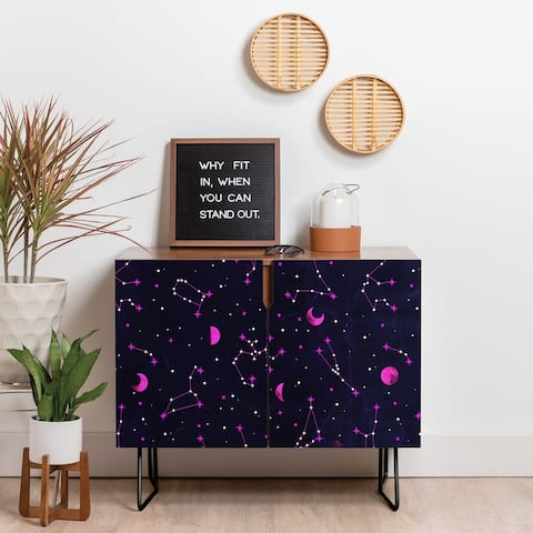 Deny Designs Ultraviolet Zodiac Credenza (Birch or Walnut, 2 Leg Options)
