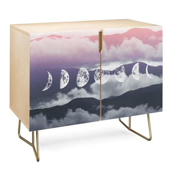 Deny Designs Pastel Moontime Credenza (Birch or Walnut, 2 Leg Options)