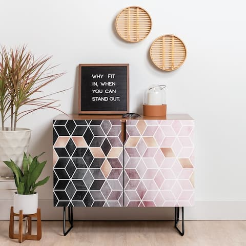 Deny Designs Pink Grey Gradient Cubes Credenza (Birch or Walnut, 2 Leg Options)