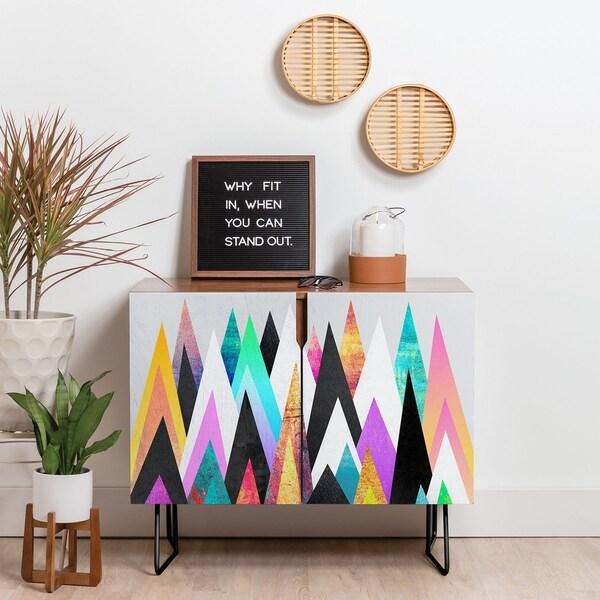 Deny Designs Colorful Peaks Credenza (Birch or Walnut, 2 Leg Options)