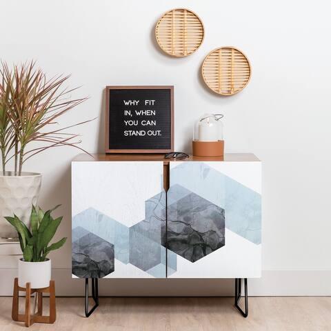 Deny Designs Neutral Marble Geometry Credenza (Birch or Walnut, 2 Leg Options)