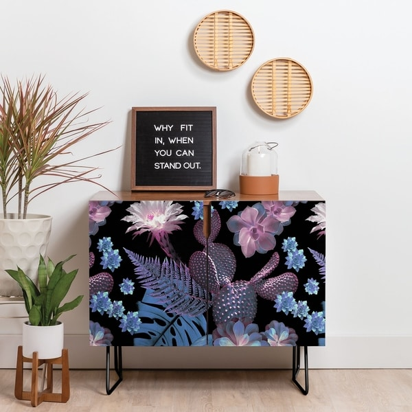 Deny Designs Exotic Garden Credenza (Birch or Walnut, 2 Leg Options)