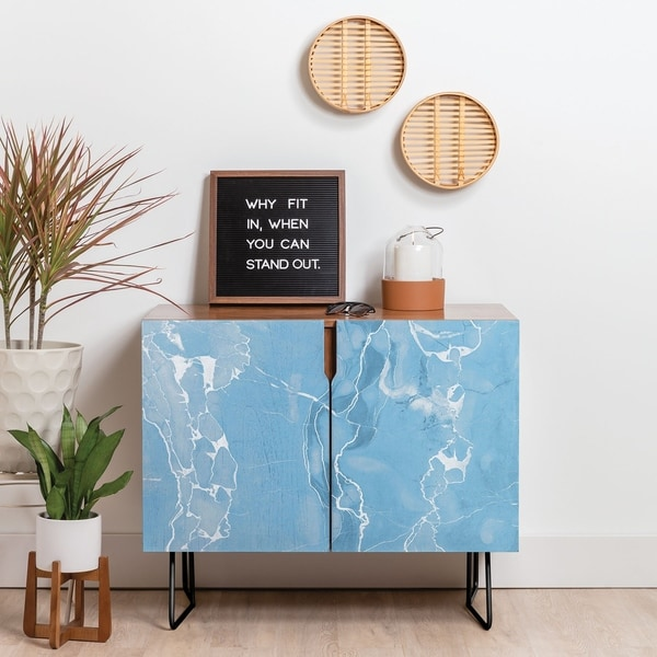 Deny Designs Blue Sky Marble Credenza (Birch or Walnut, 2 Leg Options)