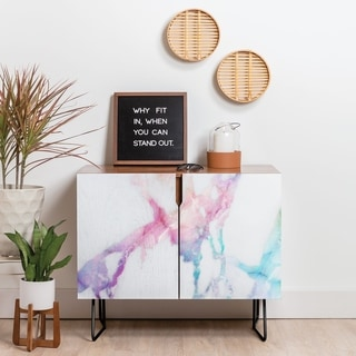 Deny Designs Iridescent Vein Marble Credenza (Birch or Walnut, 2 Leg Options)