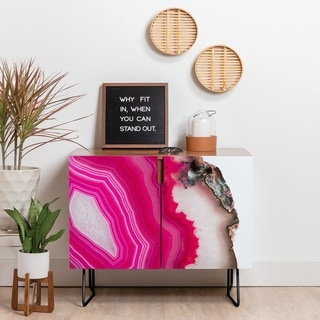Deny Designs Bold Pink Agate Credenza (Birch or Walnut, 2 Leg Options)