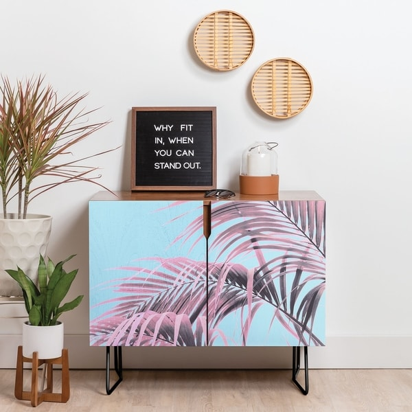 Deny Designs Delicate Pink Palms Credenza (Birch or Walnut, 2 Leg Options)